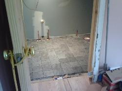 Starting the floor in the bathroom takes alot of calculation.