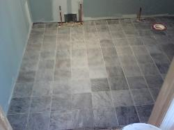The floor is now finished and grouted.