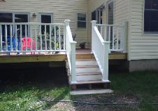 The railings are finished, and the steps are almost finished.