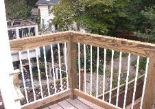 The Master Bedroom balcony is now finished. We used galvanized pipe for the balusters.