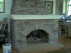 Cultured stone fireplace.